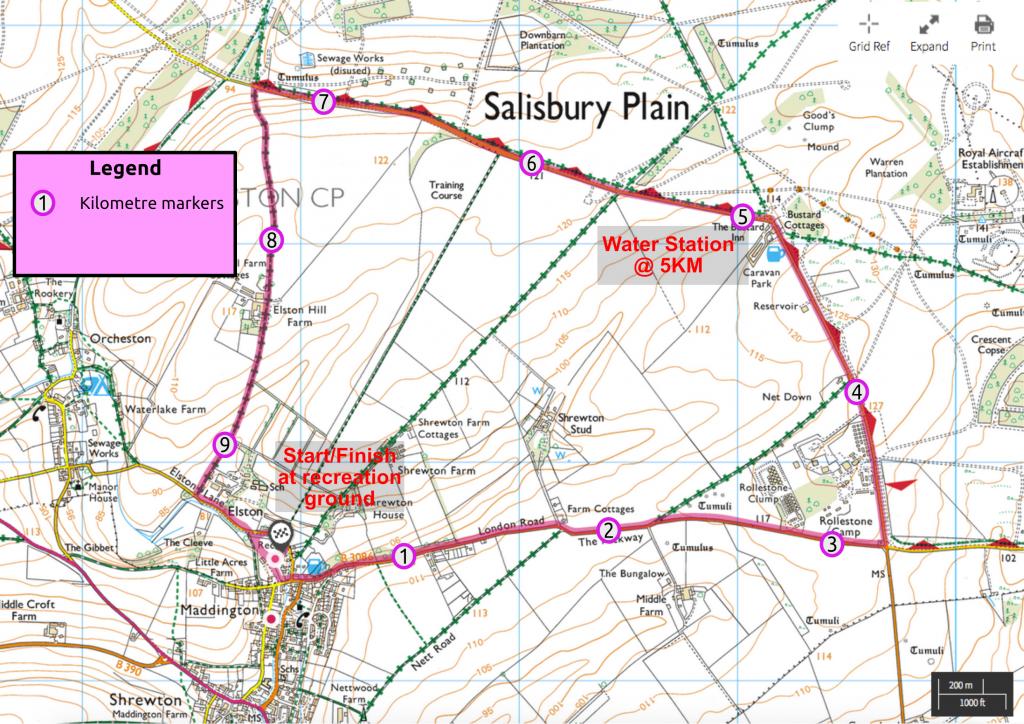 The Shrewton Bustard 10k map