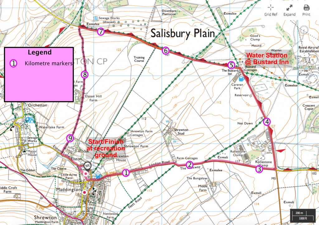 Shrewton Bustard 10k Route Map